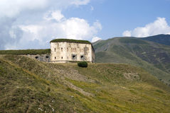 The old military fortification in Alps Stock Image