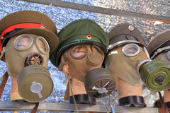 Old military gas masks Stock Photography