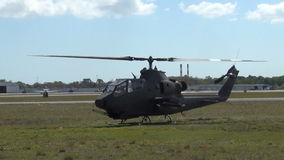 Old military helicopter stock video