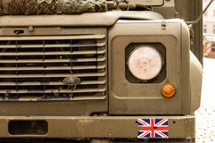 An old military landrover. With Union Jack sticker Royalty Free Stock Photo