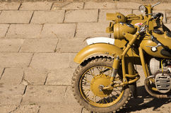 Old military motorcycle. With copyspace Stock Photography