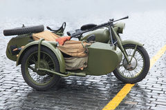 Old military motorcycle Stock Images
