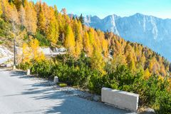Old military road headed to Mangart saddle high in Julian alps on a sunny beautiful autumn day. With colorful scenery and surrounded with mountain peaks royalty free stock photography
