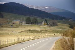 Old Military Road. Aberdeenshire, Scotland, UK. Old Military Road near Braemar, Aberdeenshire, Scotland, UK. Royal Deeside in Cairngorm Mountains royalty free stock photos