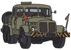Old military towing truck. Old green military towing truck, vector illustration, hand drawing Vector Illustration