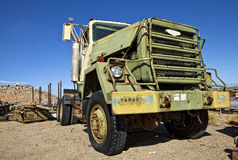 Old military truck. In a junk yard royalty free stock image