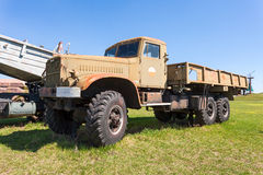 Old military truck KrAZ in Togliatti technical museum in sunny d Royalty Free Stock Photography
