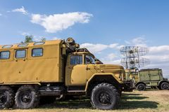 Old Military Truck Next To Big Military Radar Station. At Aviation Museum Plovdiv, Bulgaria 06 September 2017 Royalty Free Stock Photos