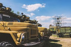 Old Military Truck Next To Big Military Radar Station. At Aviation Museum Plovdiv, Bulgaria 06 September 2017 Stock Images
