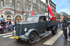 Old military truck on a parade Royalty Free Stock Image