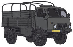 Old military truck. Vector illustration, hand drawing Vector Illustration