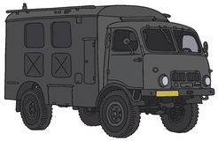 Old military truck. Vector illustration, hand drawing Stock Photos
