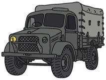 Old military truck. Vintage military truck, vector illustration, hand drawing Stock Illustration