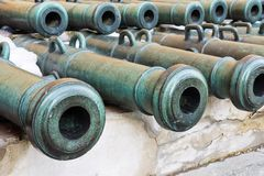 Old military trunks of ancient cannons Royalty Free Stock Image