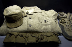 Old military uniform from Korean war royalty free stock photo
