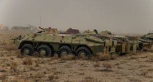 Old military vehicles, tanks and guns in Afghanistan. Old or abandoned military equipment in Afghanistan in October 2018 stock image