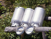 Old milk canisters Royalty Free Stock Photo