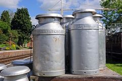 Old milk churns, Hampton Loade. Stock Image