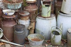 Old milk churns Stock Photo