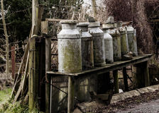 Old Milk Churns. By the roadside in Dumfries, Scotland. Rustic farming scene Stock Photography