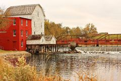 Red mill in Minnesota royalty free stock image