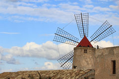 Old mill. Old windmill in Trapani, Sicily Royalty Free Stock Image
