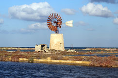 Old mill. Old windmill in Trapani, Sicily Stock Photo