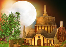 Old mill. In the night stock illustration