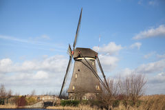 Old mill chalk and flour . The beautiful backdrop of the countryside of Holland. Royalty Free Stock Image