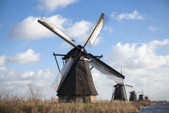 Old mill chalk and flour . The beautiful backdrop of the countryside of Holland. Stock Image