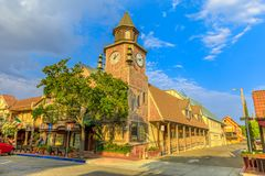 Old Mill clock tower. Solvang, California, United States - August 10, 2018: Old Mill clock tower in Solvang historic downtown, Santa Ynez Valley in Santa Barbara stock photo