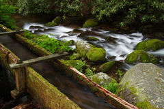 Old Mill & Creek. An old mill in Great Smokey Mountains National Park, Roaring Fork Motor Nature Trail Stock Photo