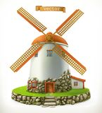 Old mill. 3d vector icon Stock Image