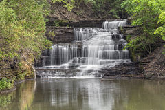 Old Mill Falls on Hector Creek. Hector Falls Creek cascades over Old Mill Falls, a waterfall near Watkins Glen in New York's Finger Lakes Region Stock Image