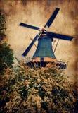 Old mill in Keukenhof stock photography