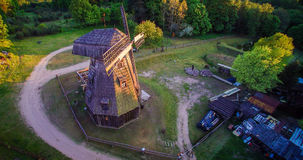 Old mill, Lithuania. Old manor mill in Pilaite aerial view from flight, Lithuania stock photography