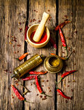 The old mill and mortar with ground red chili pepper. Stock Photos