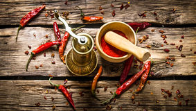The old mill and mortar with ground red chili pepper. Royalty Free Stock Image