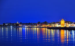 Old mill nesebar in night time Royalty Free Stock Photo