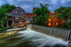 The Old Mill, Pigeon Forge Tennessee. Twilight at the Old Mill along the Little River in Pigeon Forge Tennessee stock photography