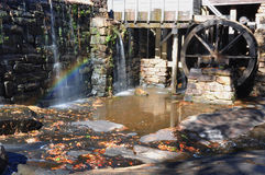 Old Mill with Rainbow Stock Photography