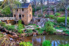 Old Mill, in Winter. The Old Mill Replica in N. Little Rock, Arkansas Featured in the 1939 movie Gone With the Wind Stock Image
