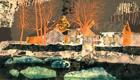 Old mill on the River Oslava. Rural landscape illustration. stock illustration