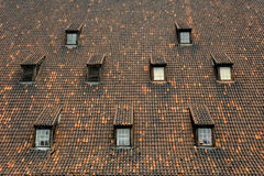 Old mill tiled roof windows Gdansk Royalty Free Stock Images