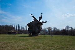 Old mill. Old Ukrainian retro wooden mill summer Pirogovo royalty free stock images