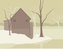 Old Mill Winter Scene. Illustration of an old mill at Winter time Stock Images
