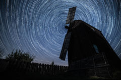 An old millin the village Vitachov. Startrails. Polaris star Stock Photography