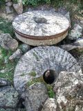 Old millstones. Old mill with millstones. Way of the mills. Hoyo de Pinares.  Avila.  Spain Royalty Free Stock Images