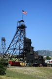 Old Mine. Gallows in Butte, Montana with a flag Stock Photography