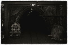 Old mine black and white Royalty Free Stock Image